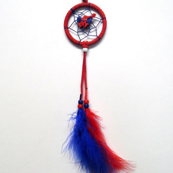 Spiderman Dream Catcher, 2.5 inch, red suede ring