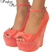 LADIES CORAL PINK PEEP TOE BOW HIGH WEDGE HEELS SHOE SANDAL EVENING PARTY 3-8