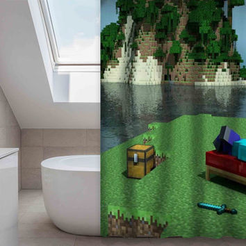 Minecraft gamecustom shower curtain