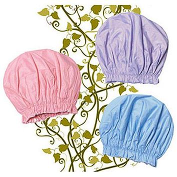 Bouffant Style Cotton Lined Shower Caps in Pastel Colors