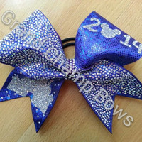 2014 HALF OFF SALE Disney themed Solid Crystal Bling Rhinestone Castle Cheer Cheerleader Princess Hair Bow to wear to Worlds or Summit