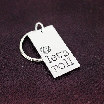 Let's Roll Keychain - d20 - RPG Dice - Tabletop Gamer Gift