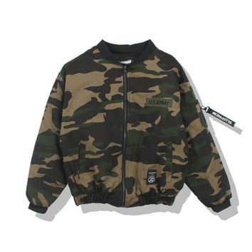 MAI printing embroidery tide cardigan solid color personality Air Force flight jacket Camouflage