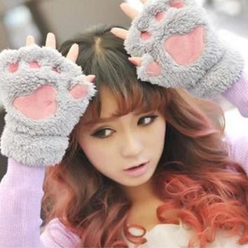 1 Pair Women Lady Girl Winter Warm Paw Gloves Fingerless Fluffy Bear Cat Plush Paw Glove Mittens