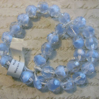 Rare VIntage glass bead strand West German ice blue givre faceted 10mm beads with label tag necklace (30)