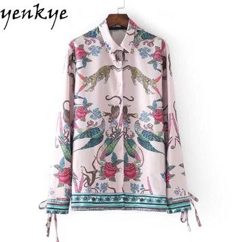Women Positioning Printed Blouse Shirt Turn down Collar Strapped Cuffs Long Sleeve High Street Shirts Blouses