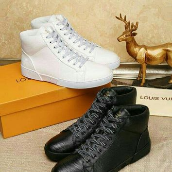 LV Louis Vuitton Men High Top LEATHER Casual Boots Sneakers Sport Shoes  Fashion Best Quality