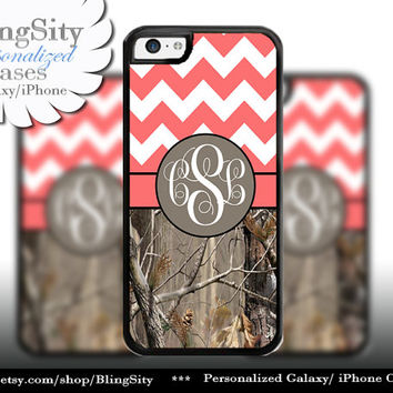 Monogram iPhone 5C 6 6 Plus Case iPhone 5s iPhone 4 case Ipod 4 5 Touch case Real Tree Camo Coral Peach Fat Chevron Zig Zag  Personalized