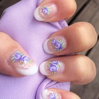 Lilac Rose Flower Nail Art Wraps Water Transfers Decals Y78 Silver Glitter