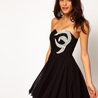 Opulence England Chiffon Bandeau Pearl Dress at asos.com
