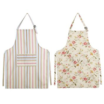 Linen Adjustable Women Kitchen Apron Bib Uniform With Big Pockets Hairdresser Kit Salon Hair Tool Chef Waiter Kitchen Cook Tool