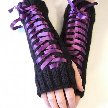 Steampunk Lace Up Fingerless Gloves