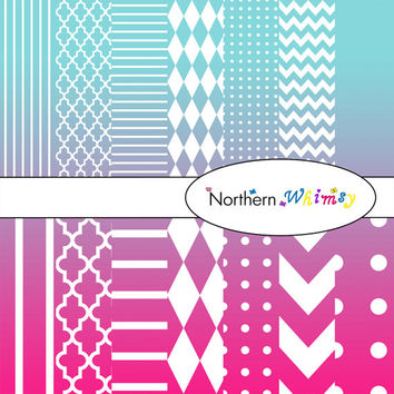 Digital Scrapbooking Paper Background Set – Fuchsia Pink and Aqua Blue Ombre - stripe, chevron, polka dot, stripe, harlequin, & quatrefoil