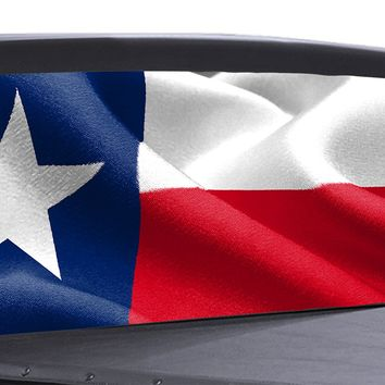 Texas State Flag Waving Universal Truck Rear Window 50/50 Perforated Vinyl