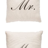 Mr. and Mrs. Throw Pillows - White with Black Text (Set of 2)