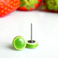 Apple Green Ceramic Stud Earrings Neon Green Color Post Hypoallergenic Geometric Minimalist Modern Earrings