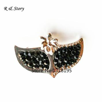 Polymer Clay Fox Mask Snap Button With Black Rhinestone Fit Snap Button Bracelet SB_1071