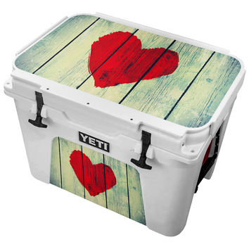 Red Painted Heart on Wood Planks Skin for the Yeti Tundra Cooler