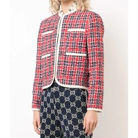 Gucci Tweed Jacket - Red Long Sleeves Jacket