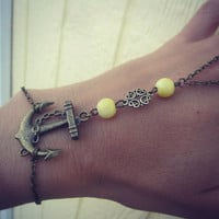 Anchor and Bead Chain Slave Bracelet Body Jewelry in Brass and Yellow