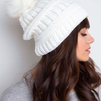 Tilly Fur Pom Pom Beanie - White