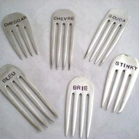 CHEESE MARKERS - 6 PC Vintage Forks Upcycled / Recycled Stamped Silverplate Forks - Great Gift