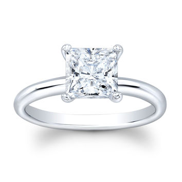 Ladies Platinum engagement ring solitaire with 2 ct natural Princess Cut White Sapphire center