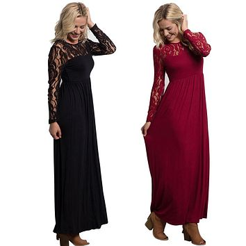 Long Sleeve Elegant Ladies Maxi
