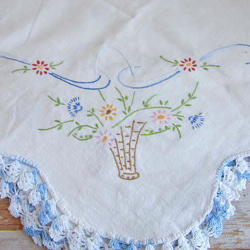 Vintage Dresser Scarf - Flower Basket -Blue and White