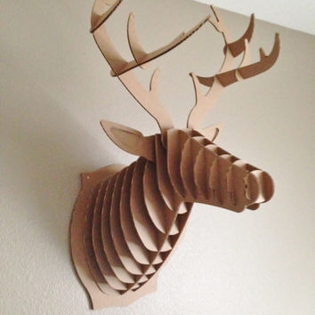 Large Bambi Friendly Deer Mount Cardboard Buck Head Antlers Home Decor Wall Decoration Gift Man Cave Mantle