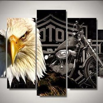 Eagle Motorcycle 5-Piece Wall Art Canvas