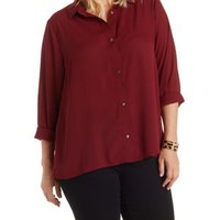 Plus Size Burgundy Button-Up Chiffon Top by Charlotte Russe
