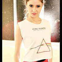 Pink Floyd Shirt Dark Side Of The Moon Punk Rock Crop Top Tank Tops Women Girl Sexy Off White Cream Color Fitting Size S M