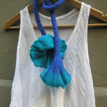 Turguoise Hand Felted  Flower Scarf / Belt  /  Necklace / Accsessory