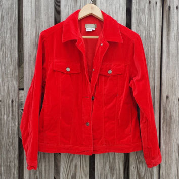 Vintage RED VELVET Jacket - The Territory Ahead - Christmas Jacket - SZ M