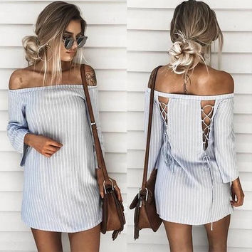 2019 Women Pullover Mosaic Striped Back Hollow Off Shoulder Mini Dress