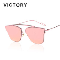 Cat Eye Mirror Sunglasses Single-Bridge Women Or Lady CHROMIC UV400 Point Sun Glasses Oculos de sol Hot Sale