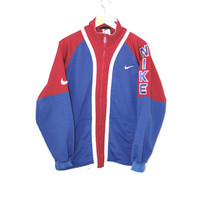 vintage Nike zip up jacket red white + blue Atheltic unisex fleece jacket medium