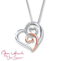 Open Hearts Necklace Diamond Accents Sterling Silver/10K Gold