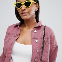 Missguided cropped denim jacket in rose at asos.com