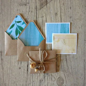Crafted mini envelopes with cards - set of 4 small note envelopes - letter writing paper -blue green brown rustic glitter-europeanstreettea­m