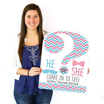 Gender Reveal Welcome Sign - Baby Shower Outdoor Lawn Decorations - Chevron Gender Reveal Personalized Party Decorations