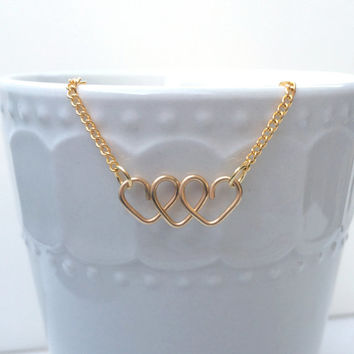 Three Hearts Necklace // Silver // Gold // Copper // Love