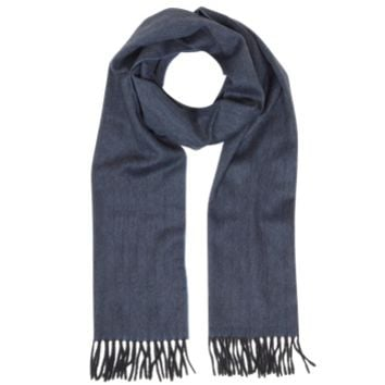 Lanvin Designer Men's Scarves Dark Blue and Black Herringbone Cashmere Fringed Men's Scarf