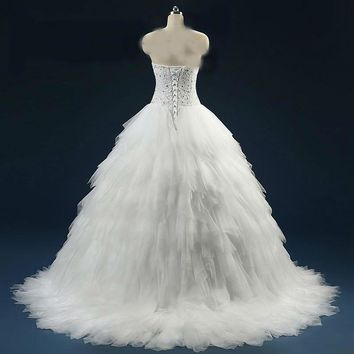 Ball Gown Crystal Sequins Beaded Wedding Dress with Tiered Ruffles Robe