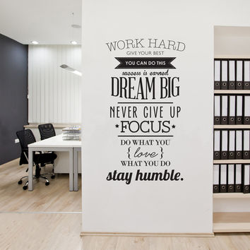 Wall Decals Quotes Work Hard Vinyl Wall Sticker Letras Decorativas Office Home Decoration Wall Art Wall Stickers Size 100x56cm