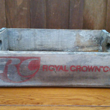Vintage RC Cola Royal Crown Cola Soda Crate With Metal Strapping Natural Wood with Red Lettering