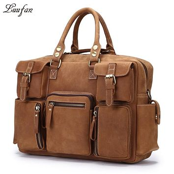 Big Capacity Crazy Horse Leather Travel Bags Men Multifunction Large Tote Travel Duffel Genuine Leather Weekend Luggage Bags