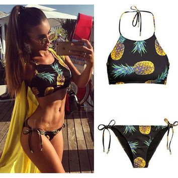 2017 Fruit Pineapple Halter Bikini Set Women Summer Sexy Split Crop top Swimsuit Ladies Beach Bathing Suit swimwear bottoms