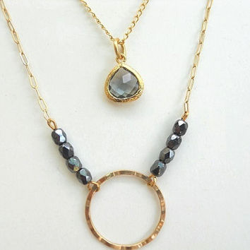 Gold filled Multi Strand Necklace  - Gold framed stone glass blue pendant and hammered circle